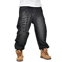QIBOE Men's Hip Hop Embroidery Baggy Jeans Denim pants