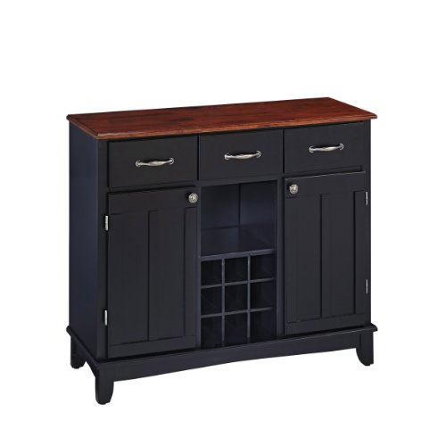 Buffet of Buffet Medium Black with Cherry Wood Top by Home (Top Buffet Sideboard Server)
