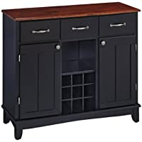 Home Styles Medium Cherry Wood Top Buffet Server 5100-0042, 39.25-Inch, Black