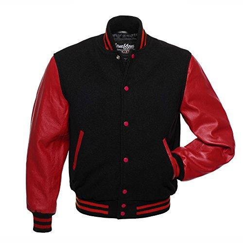 C122-MT Black Wool Red Leather Varsity Jacket Letterman Jacket