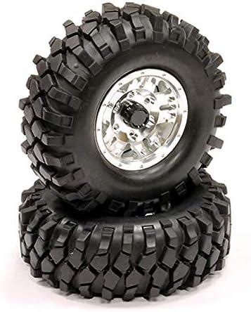 Integy RC Model Hop-ups C23472SILVER Billet Machined 5 Spoke T2 1.9 Wheel & Tire (2) for Scale Crawler (O.D.=106mm)