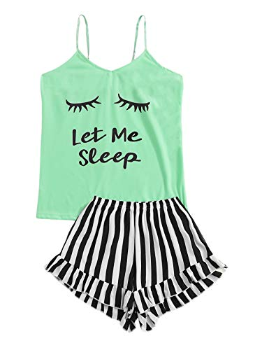 (WDIRARA Women's Sleepwear Letter Print Vest and Striped Shorts Pajama Set Multicolor L)