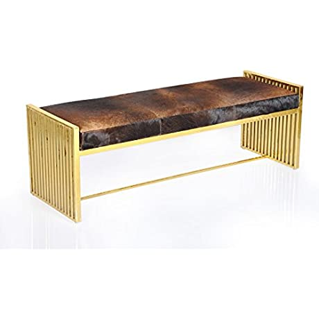 A H By Horizon Interseas Horizon Goldtone Metal And Leather Modern Bench