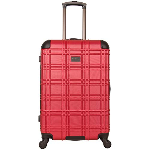 Ben Sherman Nottingham 24-inch Check-Size Lightweight Durable Hardshell 4-Wheel Spinner Upright Luggage, Red