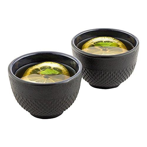 Cast Iron Tea Cups, Tetsubin Hobnail Black Cast Iron Tea Cups - 5 oz - 2ct Box - Restaurantware -