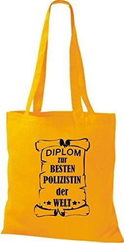 Shirtstown Bolso de tela Diploma para la besten Mujer policía der Welt amarillo
