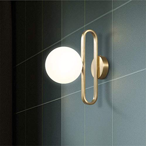 Wall Light Indoor Creative Simple Wall Sconce Single Head E14 Socket Glass Round Ball Shade Gold Color Plating Wrought Iron Wall Lamp for Living Room Background Wall Bedroom Bedside Lamp ()
