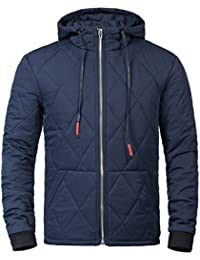 Diamond Quilted Nylon Jacket Men Casual Lightweight Hooded Coat Winter Warm