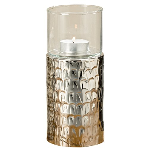 The Silver Shimmer Pedestal Tea Light Candle Holder, Luxurious Hotel Style, Glass Sleeve, Textured Metal Base, 7 1/2 Inches Tall, Hammered Aluminum, Exquisite Wind on Water Pattern, By WHW ()