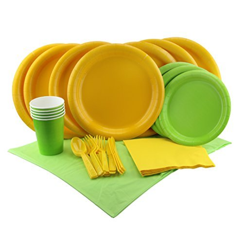 Party Lovers Premium Party Supplies Disposable Dinnerware Set - 20pc Includes Green and Yellow Dinner Plates, Cutlery, Tablecloth Napkins and Cups - Birthday Paper Tableware (Elegance Green Plate)