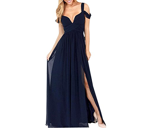 NINI.LADY Women's Drop Shoulder V Neck Empire Ruched Chiffon Bridesmaid Gown Navy US10