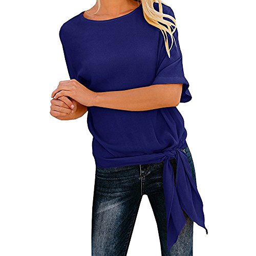 Wobuoke Womens Casual Basic Knot Tie Front Loose Fit Half Sleeve Bandage Tee Top T-Shirt Blouse -