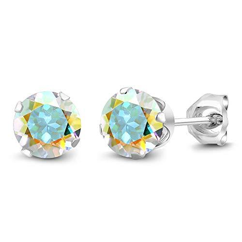- Gem Stone King 2.00 Ct Round Mercury Mist Mystic Topaz 925 Sterling Silver Stud Earrings 6mm For Women