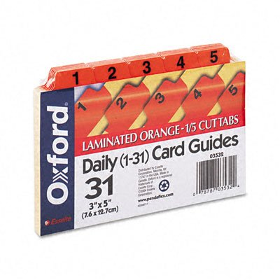 Oxford : Laminated Index Card Guides, Daily, 1/5 Tab, Manila, 3 x 5, 31/Set -:- Sold as 2 Packs of - 31 - / - Total of 62 Each
