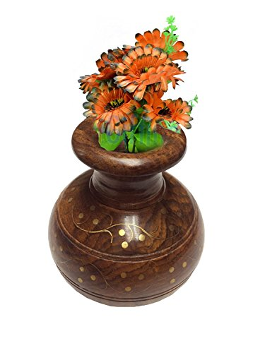 Wooden Flower Vase, Wooden Flower Pot, Full Brass Work Matka, Decorative Item for Home & Office, 6X4 Inch, Easter Day / Mother Day / Good Friday (Greeting Flower Pot)