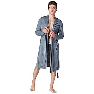 WEEN CHARM Men Cotton Soft Silky Modal Robe Satin Lounge Robe Long Lightweight Sleepwear