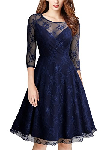 MissMay Women's Vintage Floral Lace Net 3/4 Sleeve Sexy Swing Dress Navy Blue X-Large