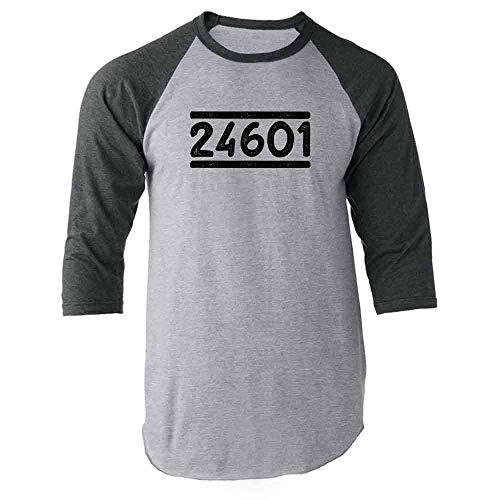 24601 T-shirt - Pop Threads Prisoner 24601 Gray M Raglan Baseball Tee Shirt