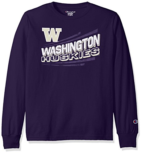 Champion NCAA Washington Huskies Youth Boys Long Sleeve Jersey Tee, Large, ()