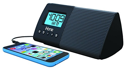iHome iHM46BC Portable USB Charging Dual Alarm Clock Speaker System  - Black Ipod Alarm Clock Speaker System