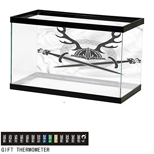 bybyhome Fish Tank Backdrop Antler,Viking Culture Celtic Circle,Aquarium Background,36