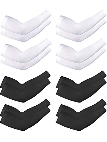 8 Pairs Unisex Arm Sleeves UV Sun Protection Cooling Sleeves for Driving Jogging Golfing Riding Outdoor Activities (Style 19)