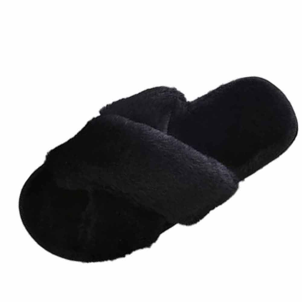 OVERMAL 2018 Womens Flat soft Fluffy Faux Fur Flat Slipper Flip Flop Sandals Shoes