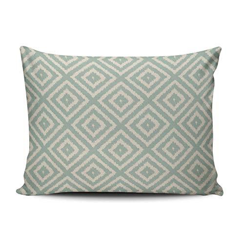 XIUBA Pillowcases Ikat Diamond Pattern in Seafoam Green Cream Customizable Cushion Decorative Rectangle 12x16 inch Boudoir Size Throw Pillow Cover Case Hidden Zipper One Side Design Printed