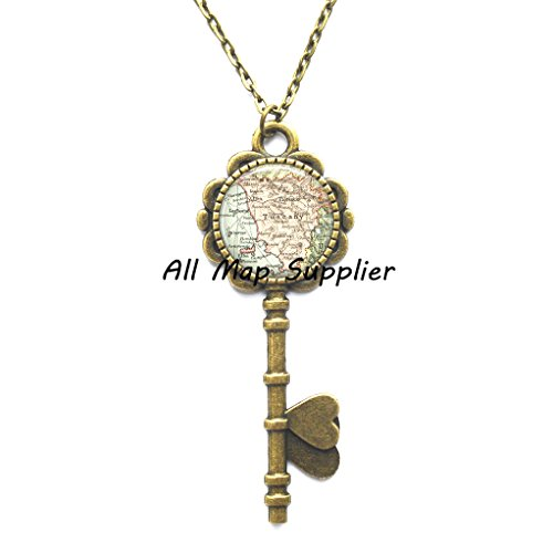 - Charming Key Necklace Tuscany map Key Necklace, Tuscany Key Pendant Tuscany Key Necklace Florence, Italy map Key Pendant, travel memento map jewelry,A0085