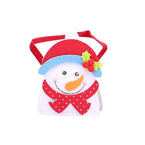 (Amaping Christmas Hanging Ornament Gift Candy Decorative Bag with Snowman Santa Claus Reindeer Home Decor)