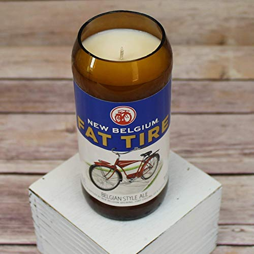Fat Tire Belgian White Ale Glass Beer Bottle Soy Candle with Custom Scent