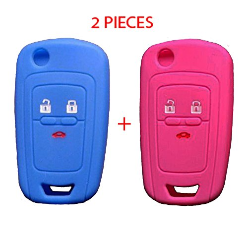 WELLSKEY Blue + Pink Silicone Car Key Cases Cover Holder Replacement 3 Buttons For Chevrolet Cruze / Aveo / Lova / Spark / Onix / Silverado / Volt / Camaro / Sonic - Pack of 2 pcs (Chevy Cruze Spare Tire)