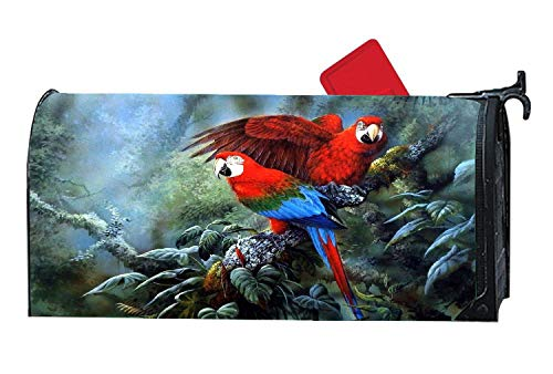 Couple Wing Jungle Birds Lovely Parrot Personalized Mailbox Covers Magnetic,Vinyl Mailbox Makeover Covers Fit Standard Sized 6.5