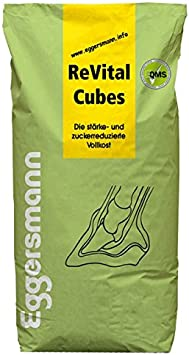Eggersmann ReVital Cubes 25 kg Alimentador especial de bajo nivel de azúcar con fórmula libre de grano para ayudar con condiciones metabólicas como laminitis o PSSM