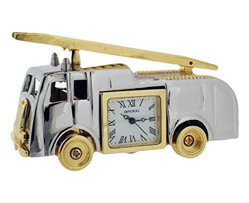 Gift Time Products Unisex Vintage Fire Engine Mini Clock - Silver/Gold