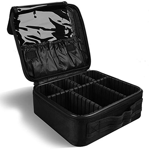 Mikicat Cosmetics Brushes Organizer Travel Makeup Train Case Adjustable Dividers for Portable Artist Storage Bag 10.3'' with Toiletry Jewelry Digital accessories (Black)