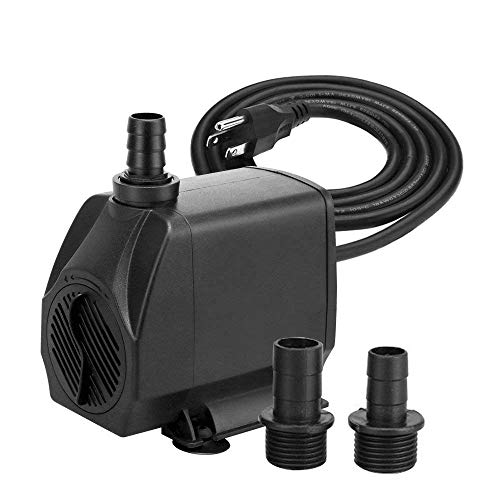- KEDSUM 880GPH Submersible Pump(3500L/H, 100W), Ultra Quiet Water Pump with 13ft High Lift, Fountain Pump with 4.9 ft Power Cord, 3 Nozzles for Fish Tank, Pond, Aquarium, Statuary, Hydroponics