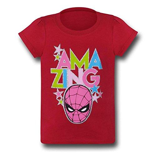 Spiderman Glitter Head on Red T-Shirt- 5T