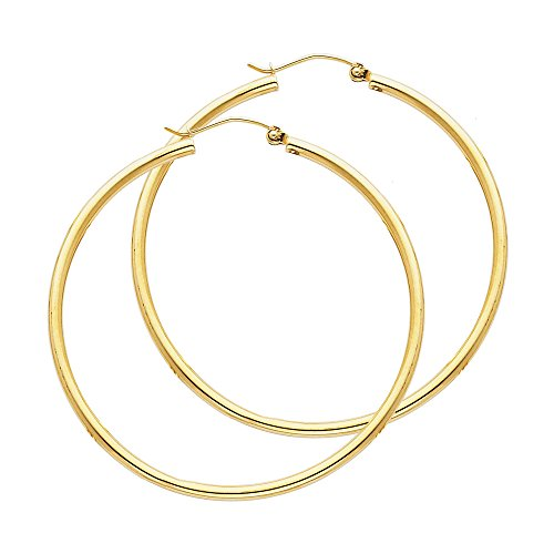 14k Yellow Gold 2mm Thickness Hinged Hoop Earrings (45 x 45 mm)