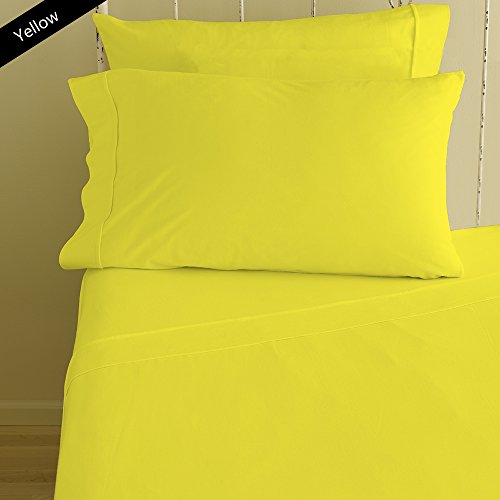 Nile Bedding Collection Luxury Hotel Bed Sheets Egyptian Cotton 600 TC 4PCs Sheet Set 15 Inches Deep Pocket Yellow Solid Queen Size (1 Fitted sheet,1 Flat Sheet & 2 (600 Supima Set)