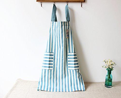Waist Stripe Skirt (Lina Daily Cotton, Skirt Dress Design, Extra-Long Waist Ties, 2 Pockets, Stripe Kitchen Apron (Blue))