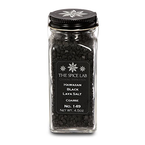 Coarse Hawaiian Black Lava Sea Salt - Premium Gourmet Mineral Fortified - Natural and Kosher Certified - French Jar ()