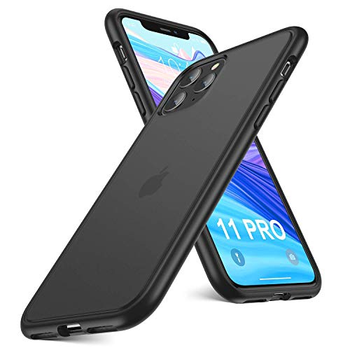 Humixx Military Grade Shockproof Case for iPhone 11 Pro (5.8 inch), [7ft Drop Protection] Matte Transparent Hard Back with Soft TPU Bumper Phone Case Cover - Matte Black
