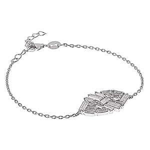 AK Jewels 925 Silver Square Shape Baguette Bracelet For Women