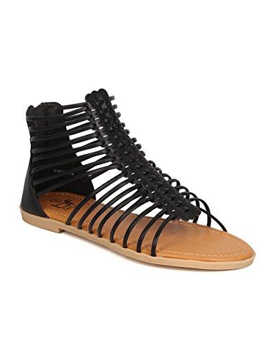 BETANI Women Leatherette Caged Gladiator Sandal - Casual, Everyday Wear, Dressy - Strappy Flat Sandal - GC16 Black