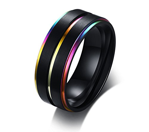Stainless Steel Three Rainbow Edge Pride Ring for Lesbian & Gay Wedding Engagement Band,Size 9