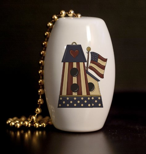 Americana Birdhouse Porcelain Fan / Light Pull