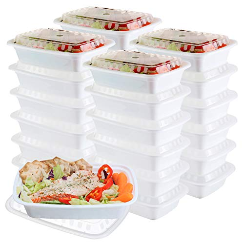 50-Pack meal prep Containers - Single 1 Compartment bowls with Lids Reusable food Storage Lunch Boxes - Bento Box, BPA-Free Food Grade - Microwave, Freezer & Dishwasher Safe - (24 Oz)