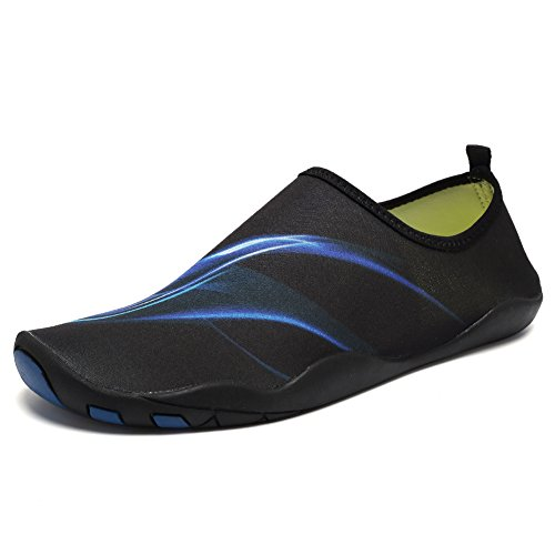 CIOR Men and Women's Barefoot Quick-Dry Water Sports Aqua Shoes With 14 Drainage Holes For Swim, Walking, Yoga, Lake, Beach, Garden, Park, Driving, Boating,DND002,Blue,46 0