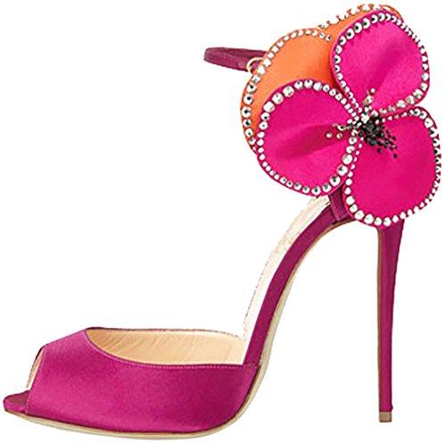 Calaier Mujer Caother Tacón De Aguja 10CM Sintético Hebilla Sandalias de vestir Zapatos Rojo